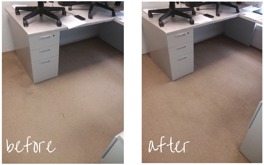 Before and after of office carpet being cleaned.